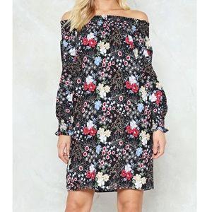 'NASTY GAL'  FLORAL OFF SHOULDER DRESS SIZE 6